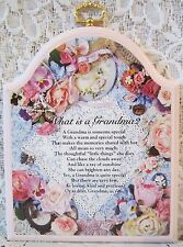 "Flower Print ""What Is A Grandma?"" Poem Wall Hanging Plaque 6½""X5¼"" Kathy Ann's"