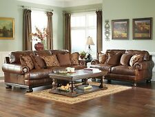 PRINCETON-Large Traditional Genuine Leather Sofa Couch Loveseat Set Living Room
