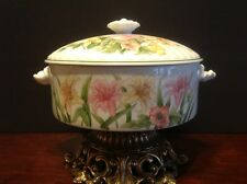 """Vintage Shafford Fine Porcelain Jade Asiatic Lily 8"""" Casserole Dish With Lid"""
