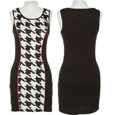 NEW TRIXXI Black White Houndstooth Neon Pink Piping Bodycon Colorblock Dress S
