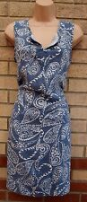 NEXT 55% LINEN BLUE WHITE FLORAL PAISLEY V NECK TUNIC CAMI SMOCK TEA DRESS 14 L