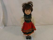 Porcelain Doll Brown Braided Haired Russian Style Dressing & Stand 33078