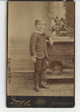 Old Cabinet Photo Young Boy Pittsburgh, PA High Button Boots Knickers Statue