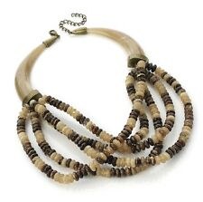 Necklace-tribal-cave girl-goddess marble-onyx bead-fancy Vestido Antiguo De Metal Dorado