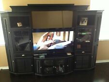 American Signature entertainment center,black,louvers,beveled glass