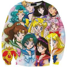 Sailor Moon Harajuku 3D Sweater Print Top Cute Cosplay Japan Anime New T-Shirts
