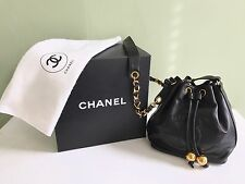 Authentic CHANEL Chain Shoulder Bucket Handbag Purse Calfskin Black **NEW**