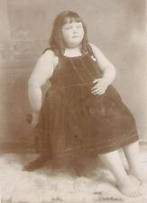 YOUNG CIRCUS SIDESHOW FAT GIRL Antique FREAK PHOTO 1880 CARNIVAL HISTORY Strange