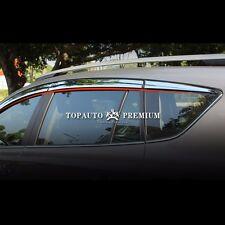 Chrome Window Visor Sun Guard Wind Rain Shield For Toyota RAV4 2013~2015
