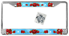 Red Roses Sky Blue License Plate Frame Personalize Gift Metal Flowers Add Name