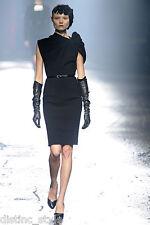 ICONIC UNIQUE RARE MOST wanted 09'F LANVIN shoulder knot wool blend black Dress