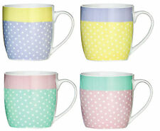 Set Of 4 Large 12oz Kitchen Porcelain Pastel Dots Design Tea Coffee Cup Mugs New