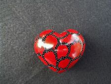 "Unusual Red with Black Chubby Heart Paper Weight   2.5"" x 2"""