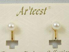 NEW Goldtone 6 mm Faux Pearl Clip Earrings