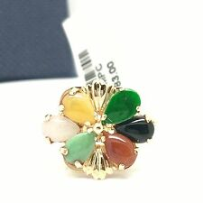 14k yellow gold multi-color jade ring