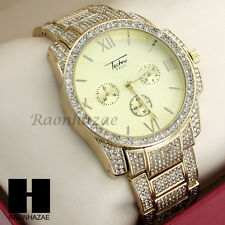 Men Lil Wayne Hip Hop Techno Pave Lab Diamond  Iced Out Gold Plated Watch 203G