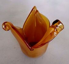 "Murano White Cristal Amber Vase Bowl Glass Art Hand Made In Italy 5"" Tall"