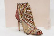 JIMMY CHOO KARA SNAKE PEEP-TOE ANKLE BOOTIE SHOES 38/7.5 $2250