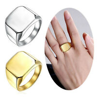Mens Square Ring Solid Polished Stainless Steel Band Screw Cap Ring Size 9-13