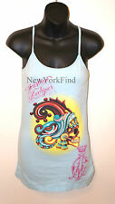 CHRISTIAN AUDIGIER Ed Hardy TANK TOP Shirt Indian Blue Yellow Skull Womens SMALL