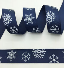 "100 yds 1"" 25mm Printed Christmas Snow Grosgrain Ribbon Hair Bow DIY Blue #A05"