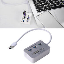 3 Port Aluminum USB 3.0 Hub With MS SD M2 TF Multi-In-1 Card Reader Portable