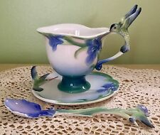 Franz Porcelain Hummingbird Teacup and Saucer with Spoon MINT, Signed Li Franz