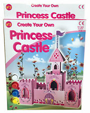 CREATE YOUR OWN PRINCESS CASTLE KIT BUILD CARDBOARD MODEL PAINT & GLUE SEQUINS