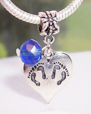 Twins Footprint Heart September Birthstone Dangle Bead for Euro Charm Bracelets