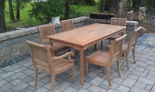 "7 PC TEAK DINING SET GARDEN OUTDOOR PATIO FURNITURE GIVA DECK (60"" RECT TABLE)"
