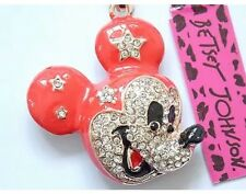 NWT Betsey Johnson Necklace Red Mickey Mouse Head Crystals Adorable