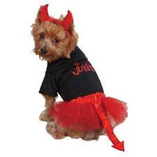 Lil' Devil Dog Costume Black Pullover Tee Red Tulle Skirt Tail Red Headpiece XXS