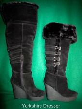 New NINE WEST 'Estrada' Long Black Suede Fur Platform Wedge BOOTS -Uk 7 / Eur 40