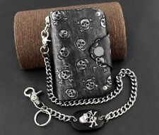 Gothic Punk Mens Teens Skulls Leather Wallet With Anti Chief Jeans Key Chain