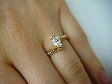 14K MARQUISE & ROUND DIAMONDS APPROX. 0.57CT T.W. HIGH SET ENGAGEMENT RING