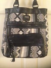 Large BILLABONG Shopper Tote Tribal Black White Gray Bag Faux Croc Pattern Trim