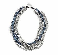 "Uno de 50 -  Silver & Blue Beaded Statement Necklace ""Oasis"" UNOde50"