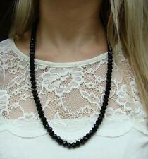 "New Elasticated BLACK CRYSTAL 12"" DROP LENGTH NECKLACE BEADS DISCO BALL CHAIN"