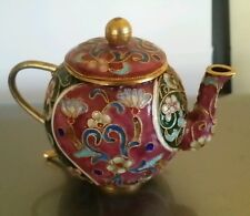CHINA COLLECTIBLE DECORATE HANDWORK OLD COPPER FILIGREE CLOISONNE FLOWER TEAPOT