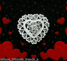 VALENTINE'S DAY HEART RHINESTONE CRYSTAL SILVER BROOCH PIN GIFT FOR WOMEN