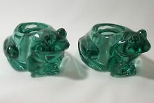 Pair Figural Green Frog Candle Holders Heavyweight Glass Large  2.5 x 4.25 Set 2