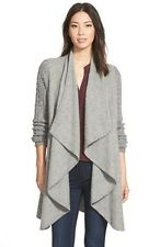 $398.00 ANDEAN SHAWNY CABLE KNIT SLEEVE DRAPE FRONT SWEATER COAT CARDIGAN GREY