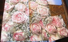 5 GERMAN PINK PEACH ROSES FLOWERS BABIES BREATH DECOUPAGE CRAFT PAPER NAPKINS