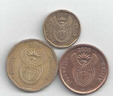 3 COINS from SOUTH AFRICA - 5, 10 & 50 CENTS (ALL 2008).