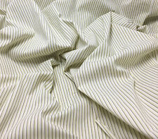 Stretch Cotton Shirting Fabric -Lime & Ivory Stripe 1/3 yd remnant
