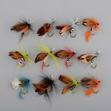 12x Lots Fishing Flies Dry Fly Tackle Lures Bait Butterfly Hooks Set Useful