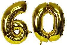 "16"" 60 Gold Number Balloons 60th Birthday Party Anniversary Foil Balloon Decor"