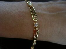 NEW WOMEN'S GREEK KEY 18K YELLOW GOLD PLATED RHINSTONES LINK BRACELET 7.25