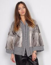 DOLCE&GABBANA Real Rabbit Fur Jacket with Knitted Sleeves Detailing Gray Size 40