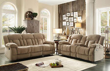 HUNTER - Beige Microfiber Recliner Sofa Couch Loveseat Set Living Room Furniture